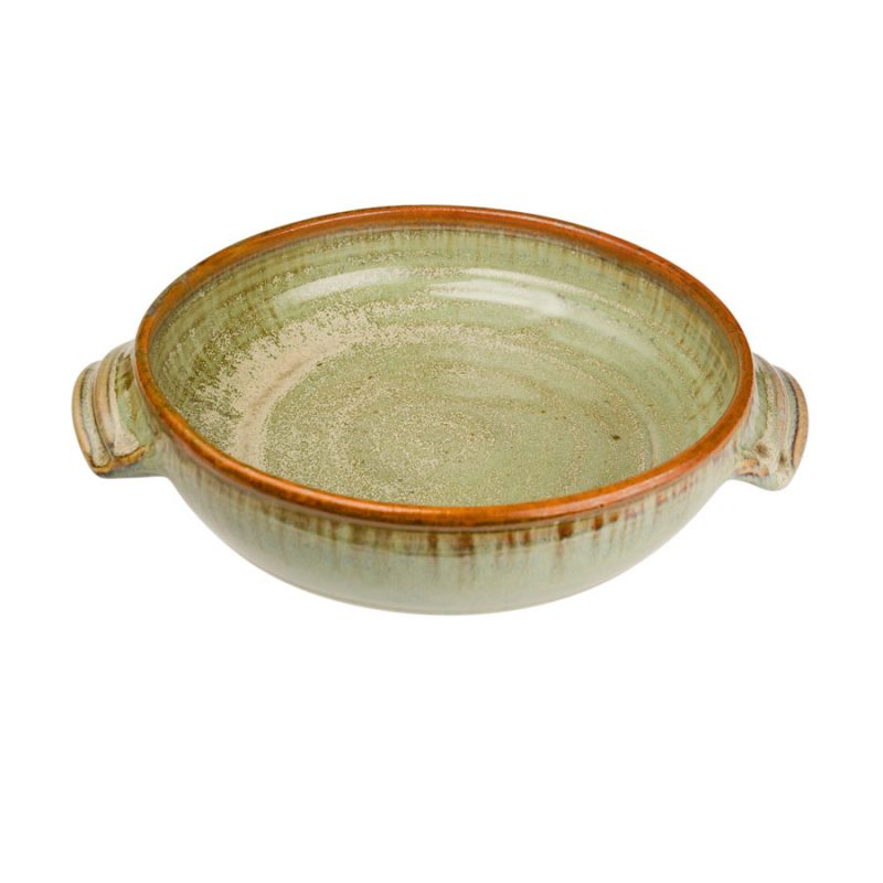 a medium-sized, mint green baking dish with handles