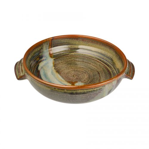 a medium-sized, green baking dish with handles