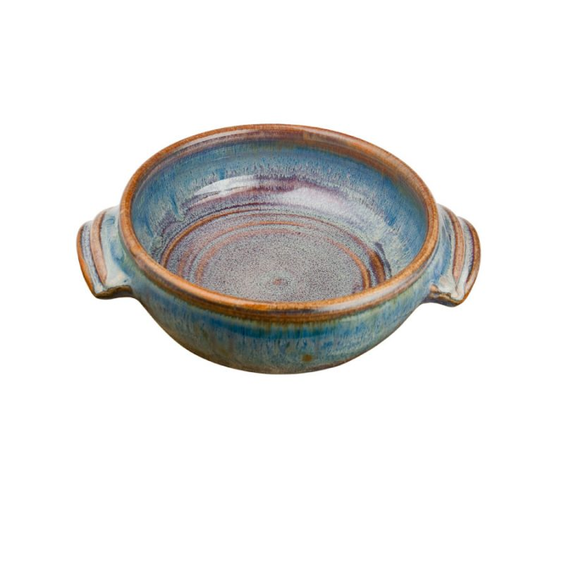 a small, blue baking dish with handles