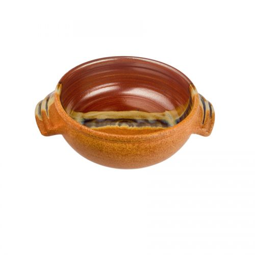 a small, red and sandy brown baking dish with handles