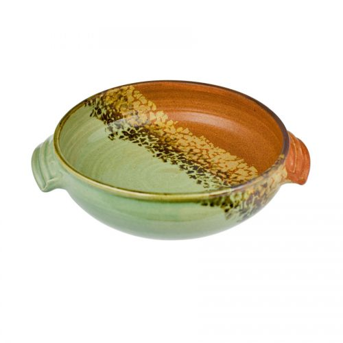 A shallow, handmade baking dish with handles for pulling out of the oven. The pottery is half green, half orange, with an animal print pattern dividing the two.