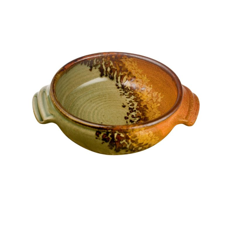 a small, green and sandy brown baking dish with handles