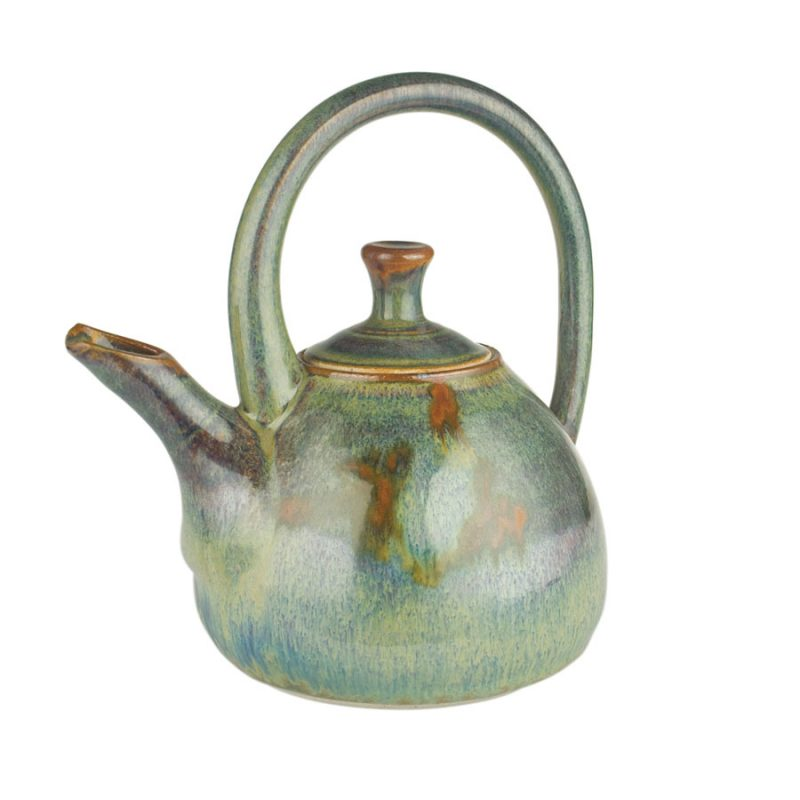 A variegated green teapot with a large, looping handle over the top, and a short spout.